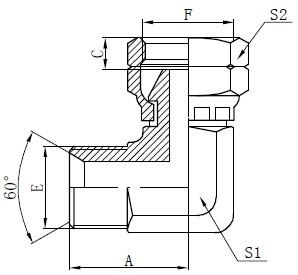 Dibujo del conector de codo BSP