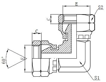Dibujo del adaptador de codo femenino BSP