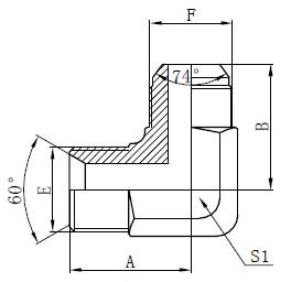 Dibujo de adaptadores hidráulicos BSP