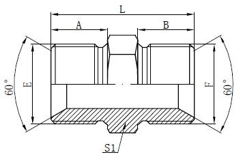 Dibujo de accesorios de adaptador macho BSP