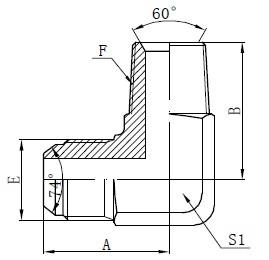 Dibujo de conectores de adaptador macho BSPT