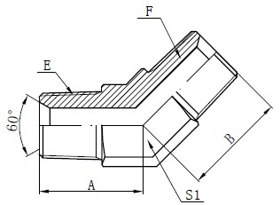 Dibujo del conector macho BSPT