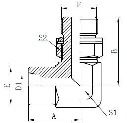 Codo de adaptadores hidraulicos de dibujo