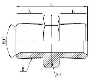 Dibujo de adaptadores macho NPT hidráulicos