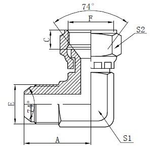 Dibujo de conectores de cara plana JIC