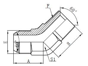 Dibujo de conectores de codo JIS GAS