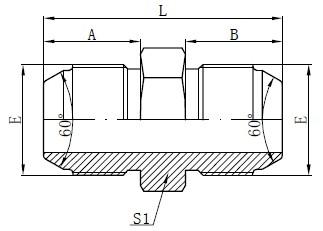 Dibujo de adaptadores macho métricos JIS