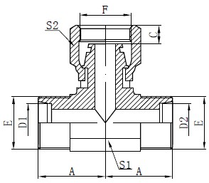 Dibujo de camiseta de manguera hembra métrica