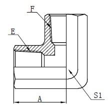 Dibujo del adaptador de rosca hembra NPT