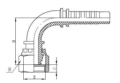 Dibujo de manguera de una pieza