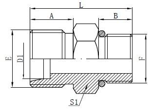 Dibujo de conectores de manguera de junta tórica SAE